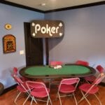 poker table for a casino party with rentals from a nashville company